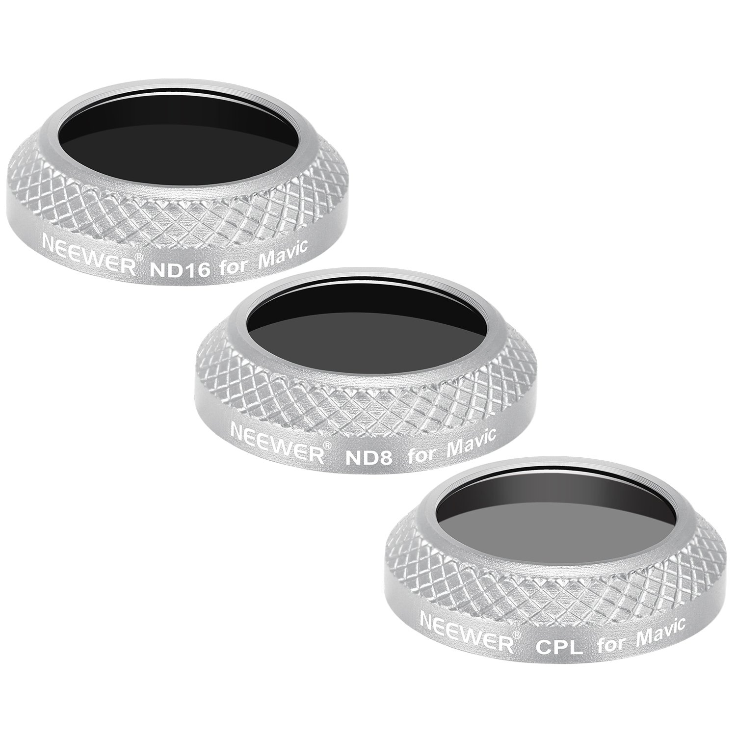 Neewer 3 Pieces Filter Kit for DJI Mavic Pro Drone Quadcopter Includes: CPL Multi Coated ND8 and ND16 Lens Filters Black Aluminum Alloy Frame Made of Optical Glass