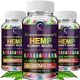 (3 Pack) GPGP Greenpeople Hemp Gummies 60,000mg Extra Strength -180ct - 100% Natural Hemp Oil Infused Gummies, Promotes Focus