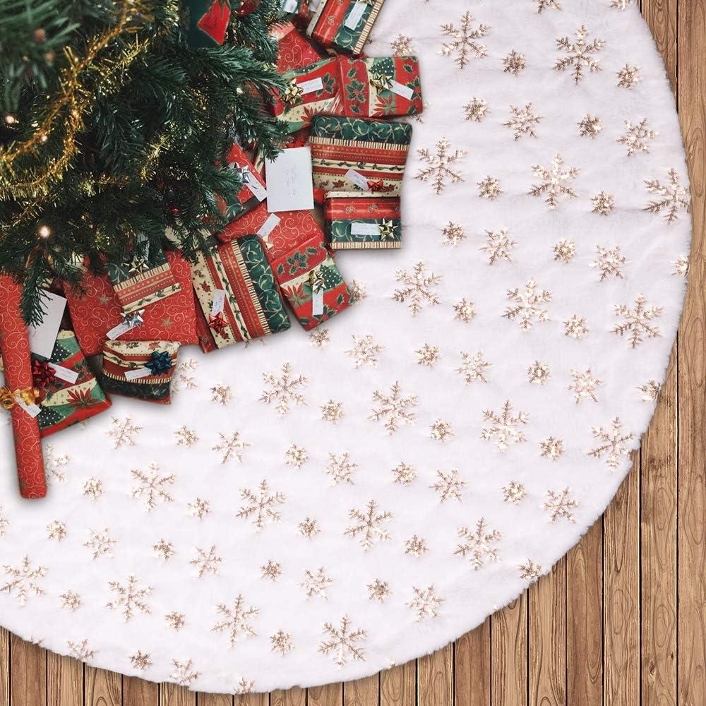 N/&T NIETING 120cm Weihnachtsbaum Rock gro/ß Wei/ße Schneeflocke Gedruckt Sackleinen Weihnachtsbaumteppich Ornamente Dekoration f/ür Weihnachten