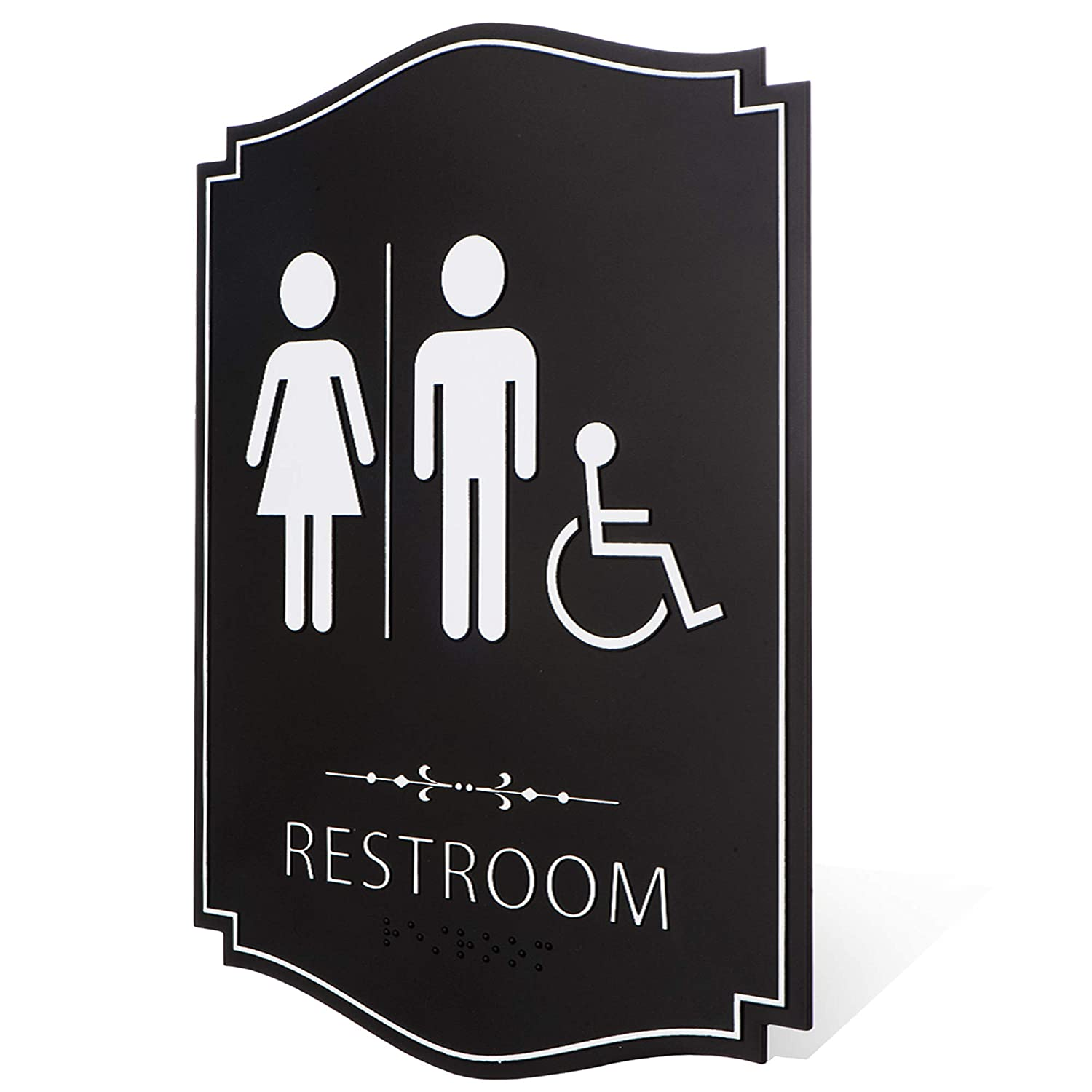 "Gender Neutral Unisex/Handicap Men/Women Family Restroom Sign Black/White (9"" x 6"" 1pk) - ADA Compliant Braille Family Bathroom Sign with Double Sided 3M Tape for Offices, Businesses, and Restaurants"