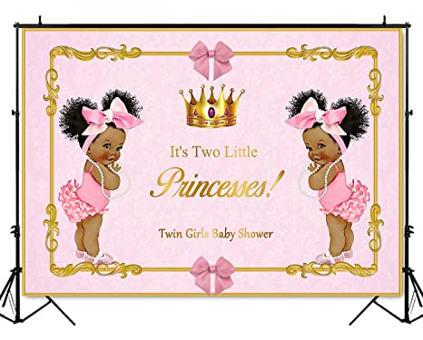 2adccd6f68964 Amazon.com : Twins Girl Baby Shower Photography Backdrop 7x5ft Gold ...