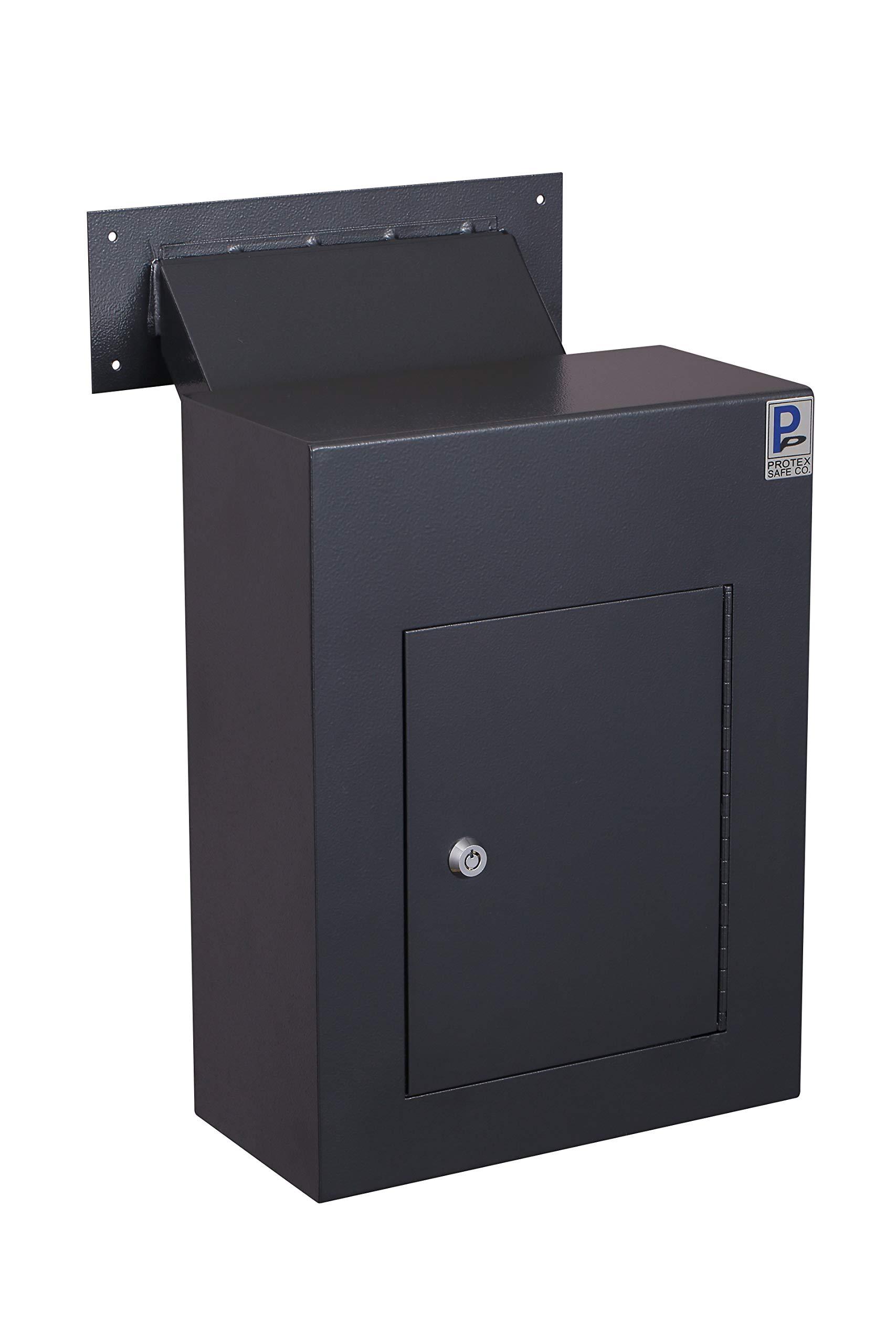 Protex WDC-160 BLACK Wall Drop Box With Adjustable Chute, Black