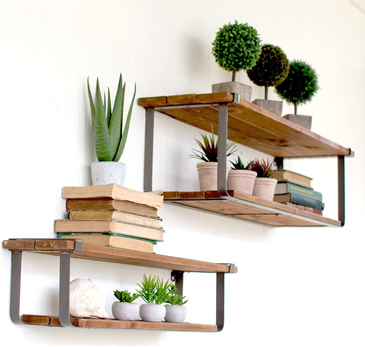 Kalalou Set of Double Recycled Wood and Metal Shelves