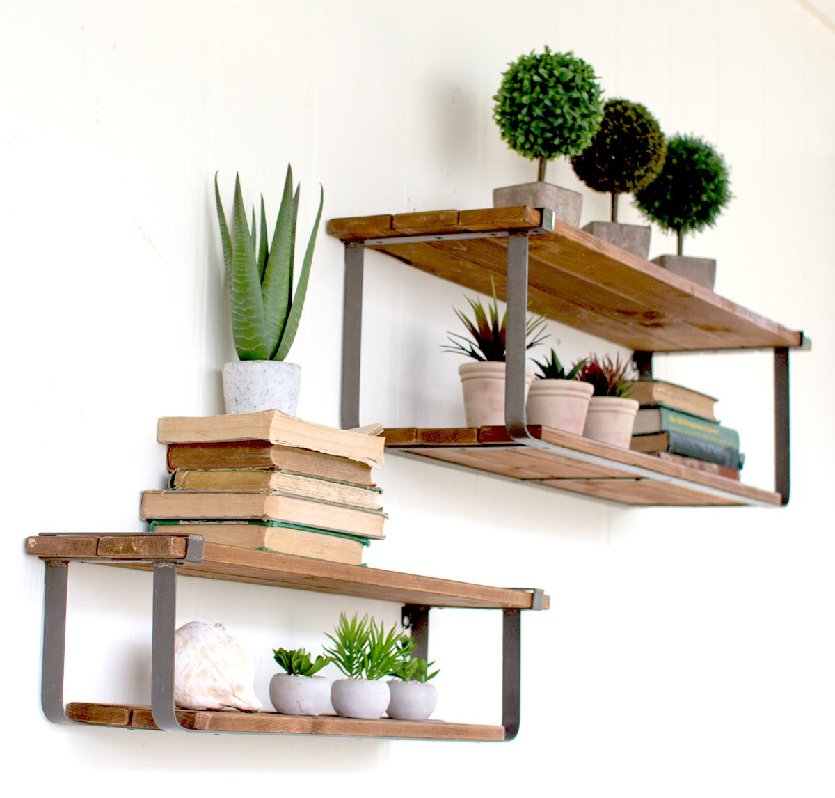 Recycled Wood and Metal Shelves, set of 2