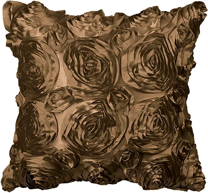 Piccocasa 3d Satin Rose Flower Throw Cushion Cover Shells Arts Decorative Pure Color Roses Floral Pillow Cover Cases For Couch Sofa 16 X 16 Coffee Color Amazon Co Uk Kitchen Home
