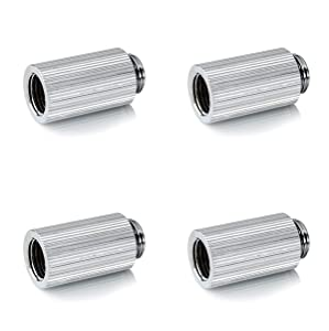 """Bitspower Touchaqua G1/4"""" Male to Female Extender Fitting, 30mm, Glorious Silver, 4-pack"""