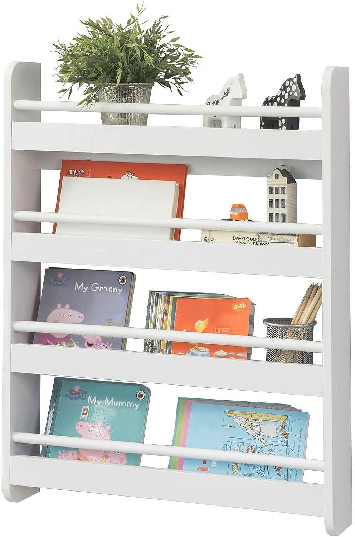 SoBuy KMB08-KW Librería Infantil para Niños con 4 Estanterías, Estantería de Pared,Blanco,H80cm,ES