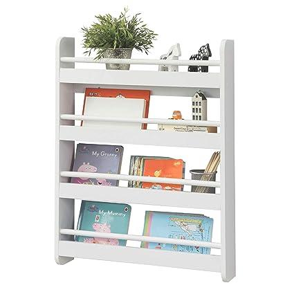 SoBuy KMB08-KW Kinderregal Bücherregal für Kinder Wandregal Hängeregal  Aufbewahrungsregal mit 4 Ablagen für Bücher und Deko weiß BHT ca.:  60x80x12cm