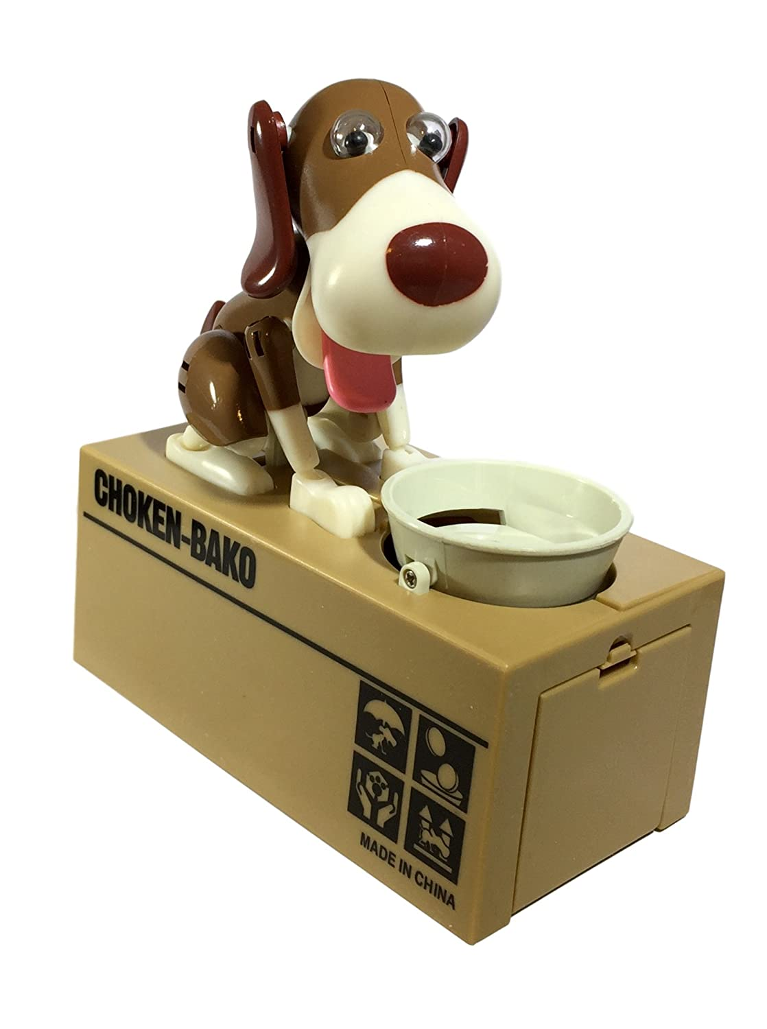 Happy Puppin Choken Bako Robotic Dog Bank Doggy Coin Bank & Money Box (White & Brown)   B01N8RDIBJ