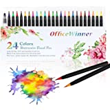 Brush Marker Pens, 24 Color Calligraphy Pen with Soft Flexible Tip, Watercolor Art Pen Set for Adult & Kids Coloring Books and Painting