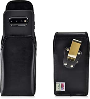product image for Turtleback Belt Case Designed for Galaxy S10+ Plus Fits with OB Defender, Vertical Holster Black Leather Pouch with Heavy Duty Rotating Belt Clip, Made in USA