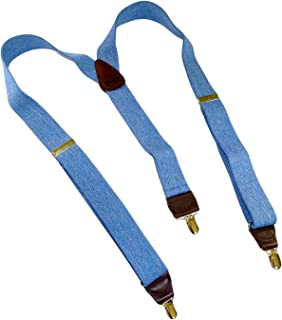 product image for HoldUp brand Blue Denim color Suspenders in Y-back style with No-slip Goldtone Clips