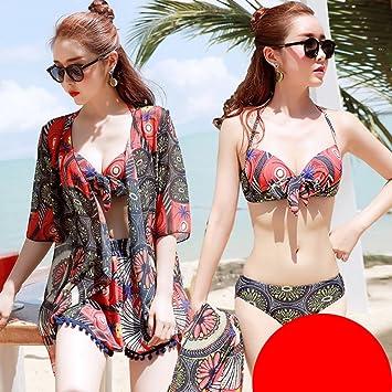 Split Badeanzug Damen Dreiteilige Bikini Sammeln Sexy Cover Bauch War Dünn Heißen  Frühling Badeanzug (Rot