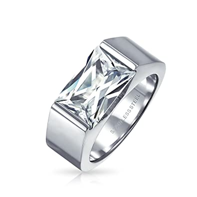 dcd5f304bdfd2 Bling Jewelry Geometric 4CT Square Cubic Zirconia Emerald Cut CZ Mens  Engagement Ring for Men Silver Tone Stainless Steel