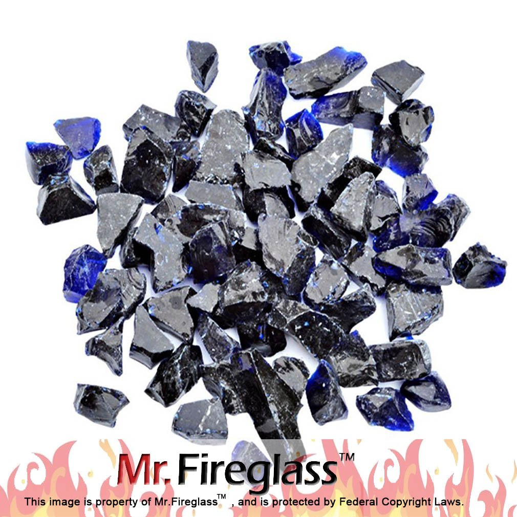 Mr. Fireglass Recycled Fire Glass for Natural or Propane Fire Pit Fireplace Gas Log Sets, 10 Pounds, Blue