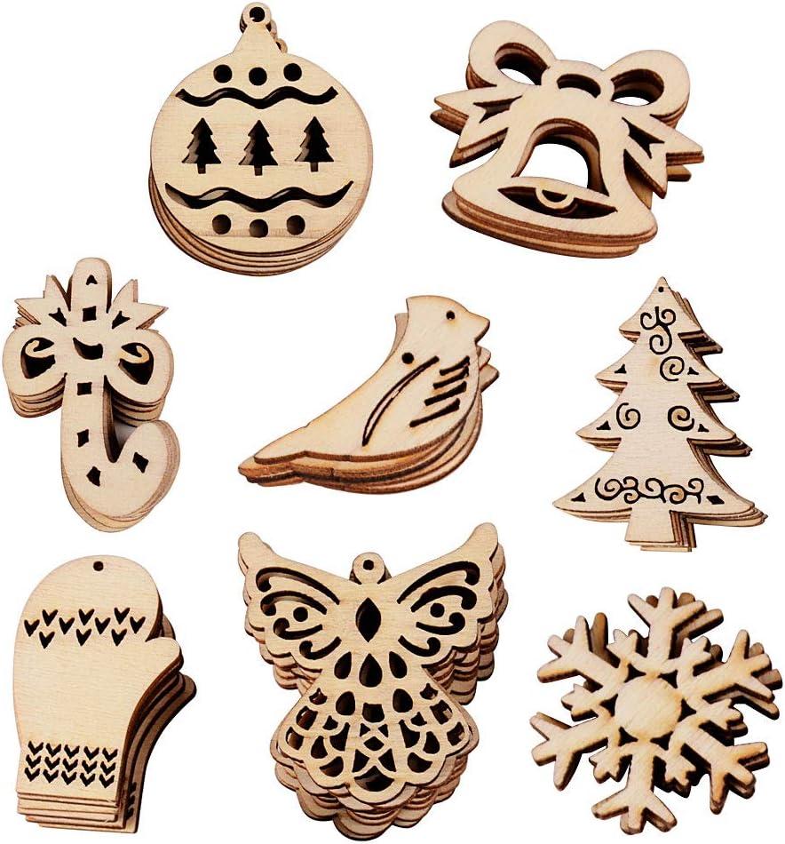 VINFUTUR 100pcs Adornos Navidad Madera 8 Figuras Mixtas Piezas Madera de Árbol Rebanadas Pequeñas Madera Navidad Colgantes Accesorios para Decoración Árbol Scrapbooking Fiesta DIY