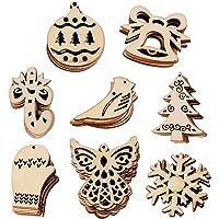 VINFUTUR 100pcs Adornos Navidad Madera 8 Figuras Mixtas