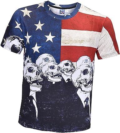 Sharplace Camisa de Estilo Americano Impreso Tops Casual Hombre Tee Calavera 3D Ropa de Hombre: Amazon.es: Ropa y accesorios