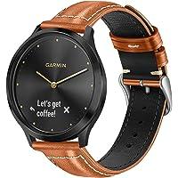 Fintie for Garmin Vivoactive 3 Bands, 20mm Soft Genuine Leather Replacement Accessories Strap for Garmin Vivomove HR…