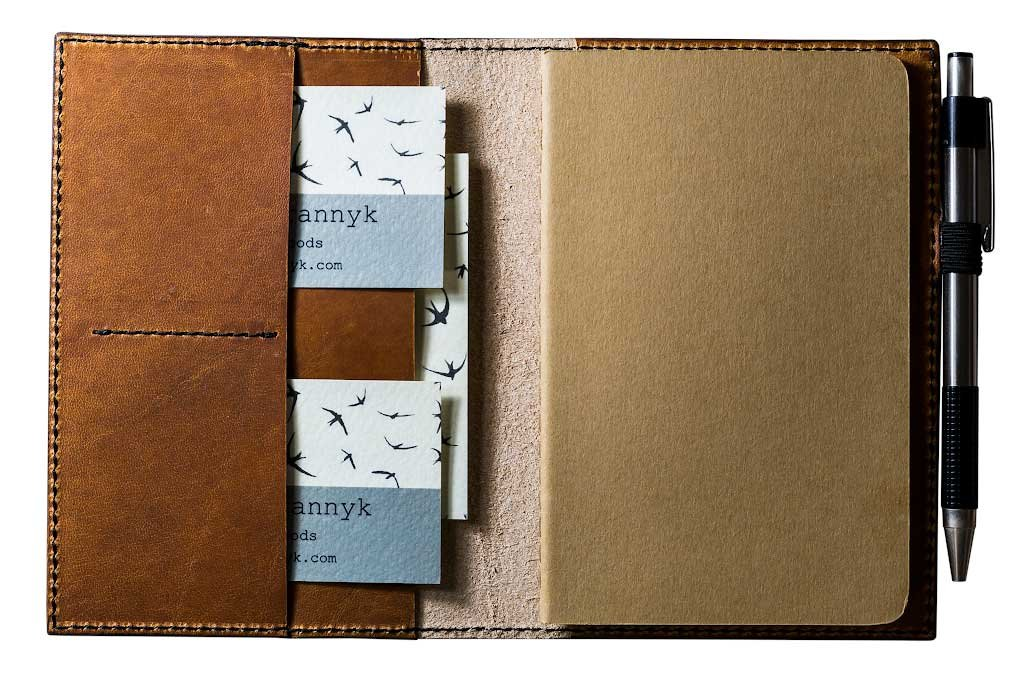 Leather Journal Case with Pockets and Pen Holder Refillable Moleskine Cahier Notebook 3.5''x5.5'' with Lined Paper Horween Dublin Leather of Natural Color
