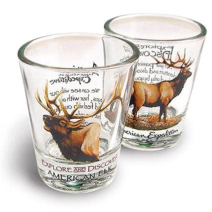 72c9951d8495 Amazon.com  American Expedition Set of 2 Shot Glasses (American Elk ...