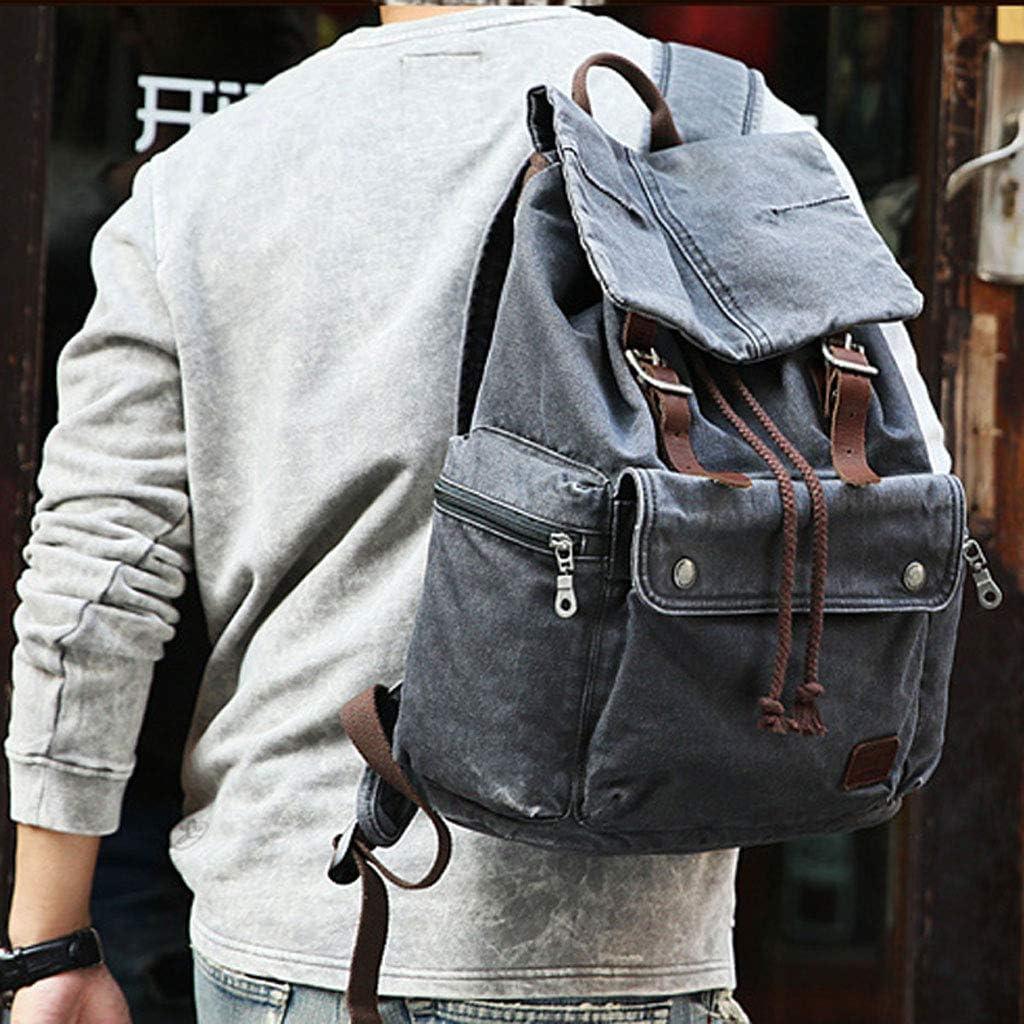 Retro Backpack Dark Coffee Color Khaki Grey Black Mens Canvas Casual Travel Bag Mountaineering Bag Color : Gray-Black