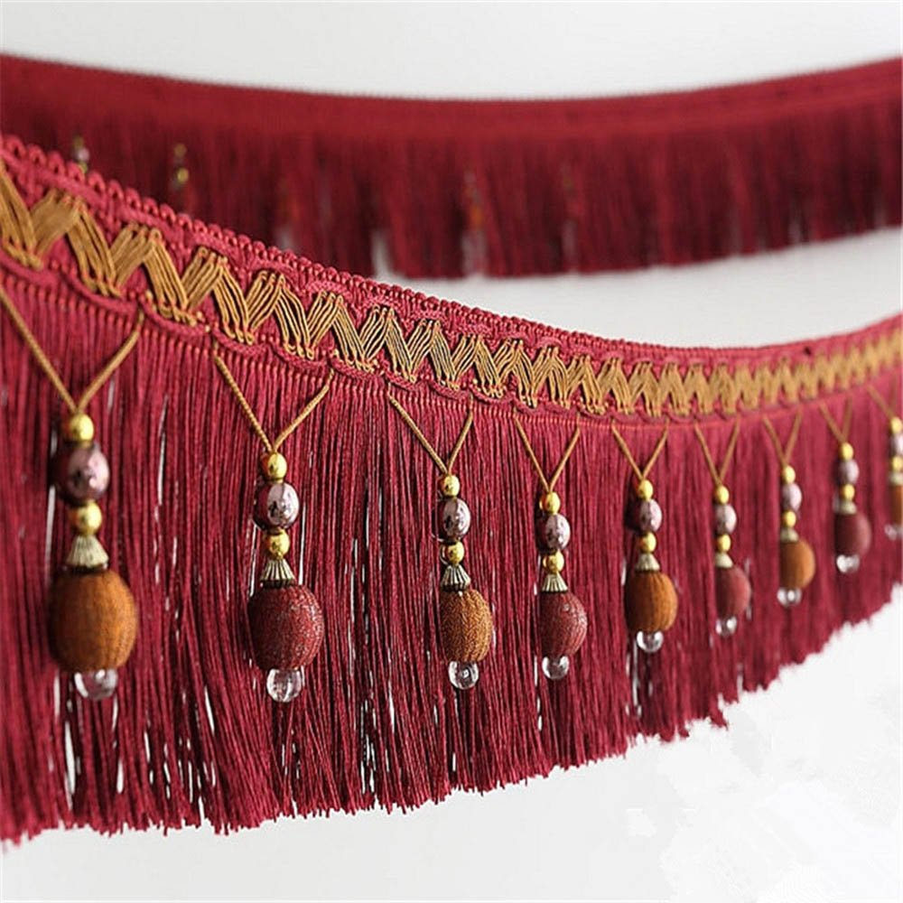 2yard Briaded Beads Hanging Ball Tassel Fringe Trimming Applique Fabric Trimming Ribbon Band Curtain Table Wedding Decorated T2582a (Brown) Sunbe
