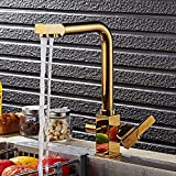 Brass Ti-PVD 360 Degree Rotatable Ceramic Valve Two Handles Kitchen Faucet