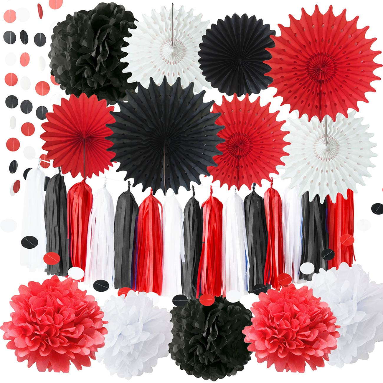 Red Minnie Mouse Party Supplies White Black Red Baby Ladybug Happy Birthday Party Decorations//First Birthday Decorations Tissue Pom Pom Paper Fans Minnie//Mickey Mouse Birthday Party Decorations Qian/'s Party