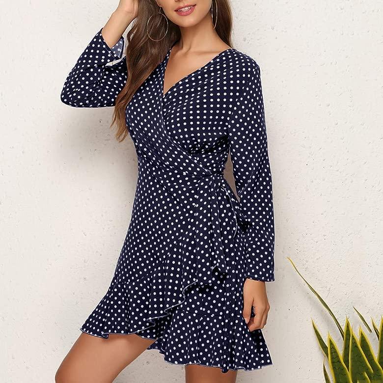 VEMOW Vestido de Cordón Lunares Formal Vintage para Mujer de ...
