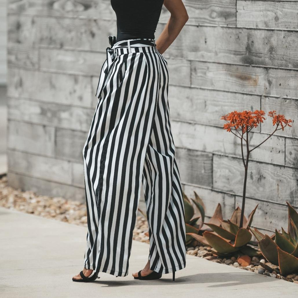 f11e64037f5 Amazon.com  RAISINGTOP Women Sexy High Waist Stripe Fashion Casual Wide Leg  Trousers Summer Beach Pants Flowy Extra Long Length  Clothing