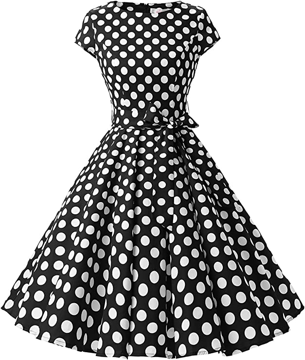 TALLA XXL. Dressystar Vintage 1950s Polka Dot and Solid Color Prom Dresses Cap-Sleeve Black White Dot B XXL