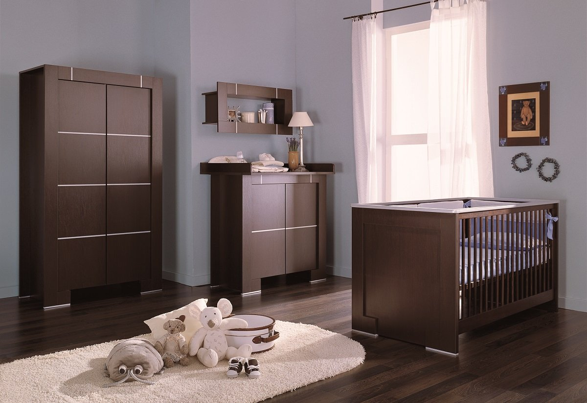 Babyzimmer Kinderzimmer New Generation Wenge Silber Babymobel Set
