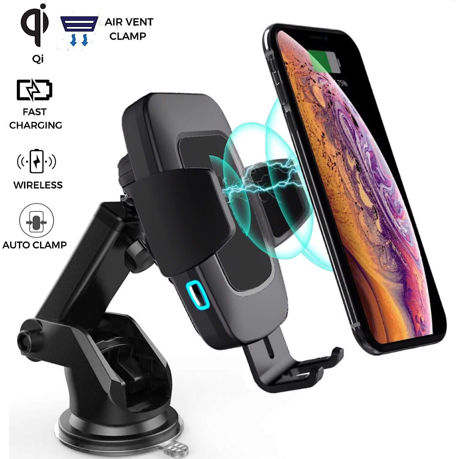 Alium Auto Clamp Wireless Car Charger | Wireless Charging Car Mount | 2 in 1 Function | Dual Suction or Clamp Option | 360 Rotation | Universal Compatible | LED Indication Light | Qi-Enabled Devices