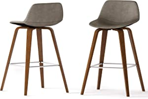 SIMPLIHOME Randolph Mid Century Modern Bentwood Counter Height Stool (Set of 2) in Distressed Grey Faux Leather