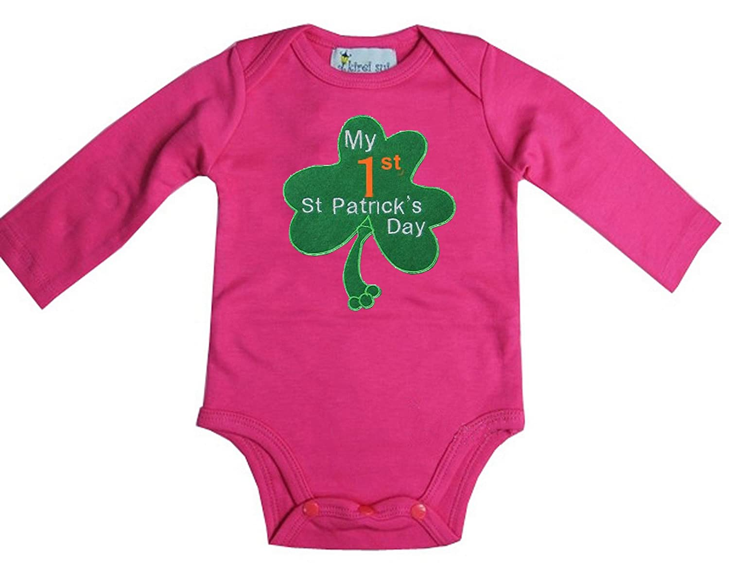 Amazon.com  Kirei Sui Baby 1st ST Patrick s Day Hot Pink Long Sleeves  Bodysuit  Clothing 9d8e1f31c