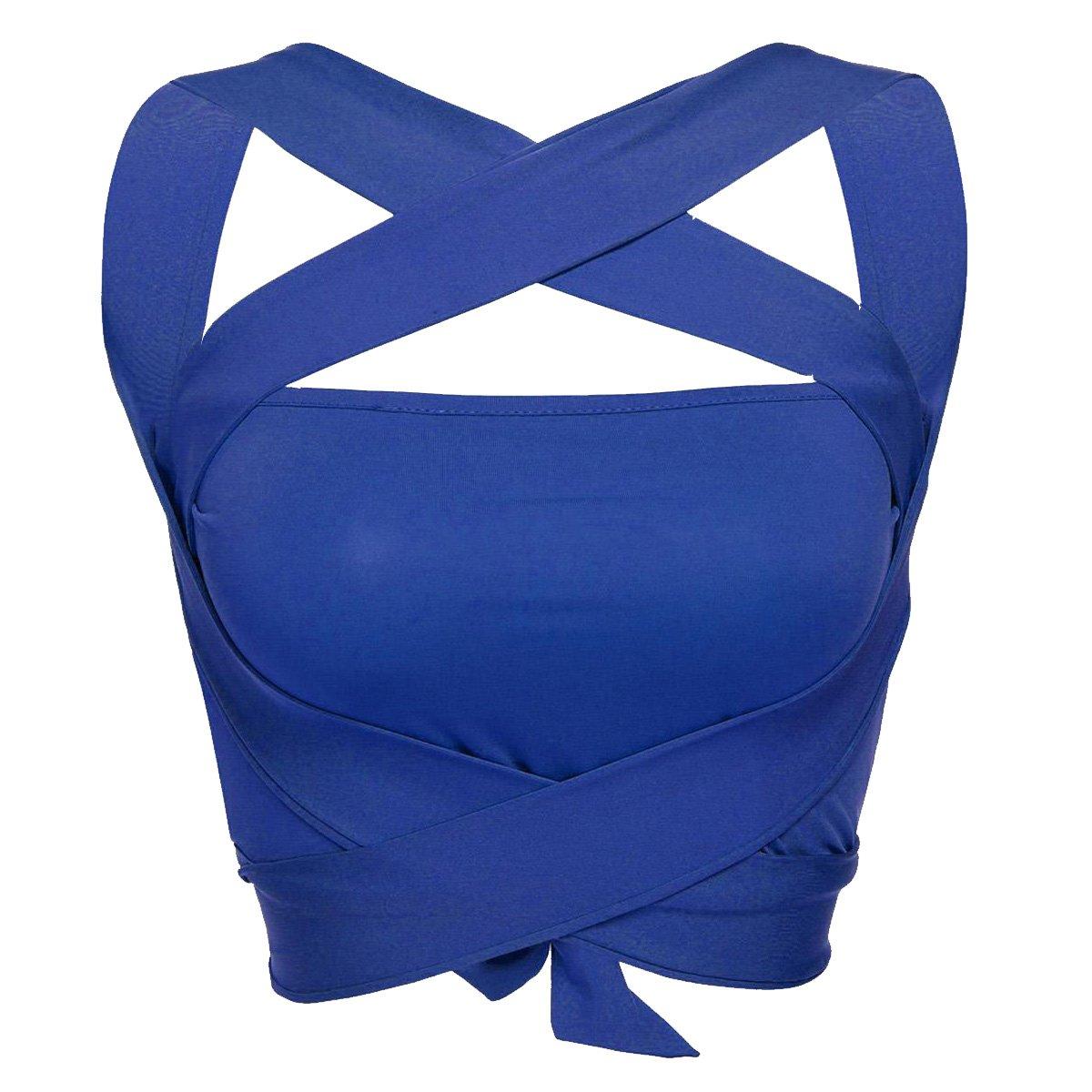 Baguet Ladies Fashion Cross Bandage Front Vest Sleeveless Crop Tops V-Neck T-Shirts Slim Outside Wear