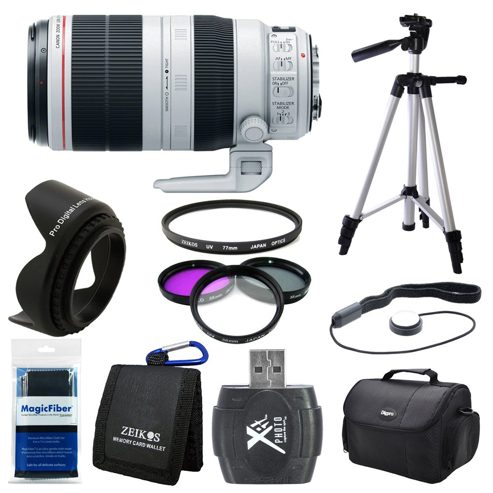 Canon EF 100-400mm f/4.5-5.6L IS II USM Lens (9524B002) Deluxe Bundle - Includes Lens, Card Reader, Gadget Bag, Filter Kit, Lens Hood, Full Size Tripod, Lens Cap Keeper, Memory Card Wallet and More