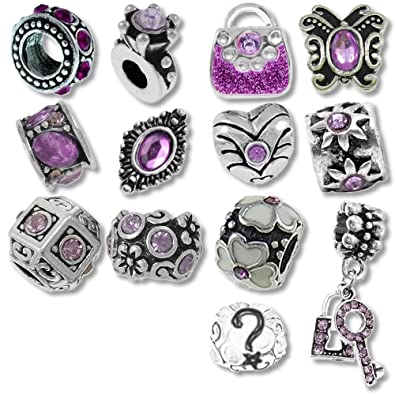 ff69acb56 Timeline Treasures European Charm Bracelet Charms and Beads For Women, DIY  Jewelry, Purple Birthstone