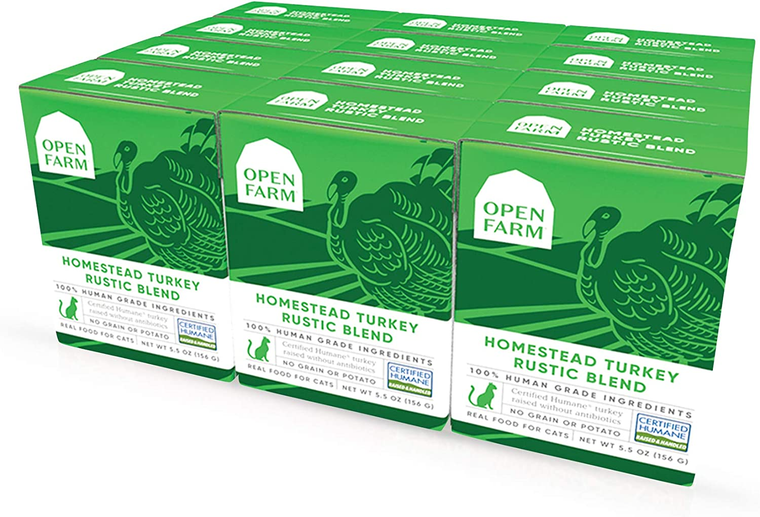 Open Farm Wet Cat Food, Complete Meal or Food Topper with Responsibly Sourced Meat and Superfoods Without Artificial Flavors or Preservatives, 5.5 Oz (Pack of 12 Boxes)
