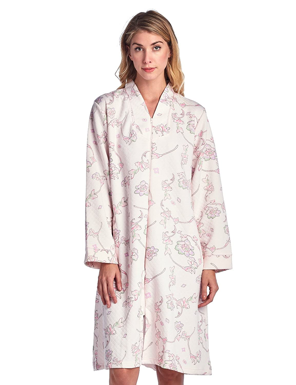 Casual Nights Women's Floral Print Zipper Front Quilted Robe Quilted Lounge Robe