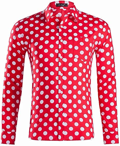 Men's Short Sleeve Shirt Cotton Printed White Polka Dots Casual Slim Fit Beige