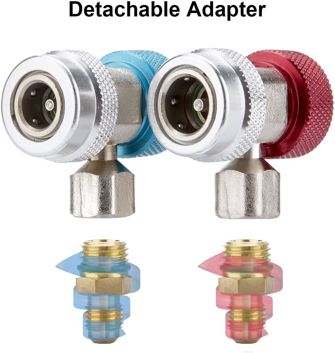 Evoio Adjustable R134A Adapter Fittings Quick Coupler High Low AC Freon Manifold Gauge Hose Conversion kit 1//4 SAE HVAC,Air Conditioning Line Repair Tools dichromatism