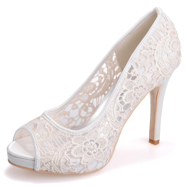 Elobaby Zapatos De Boda De Las Mujeres 35-42 Zapatos De Tacón Alto De Encaje De Tamaño Blanco Marfil Novia Plataforma 11 cm Heel/S6041 37 EU Ivory