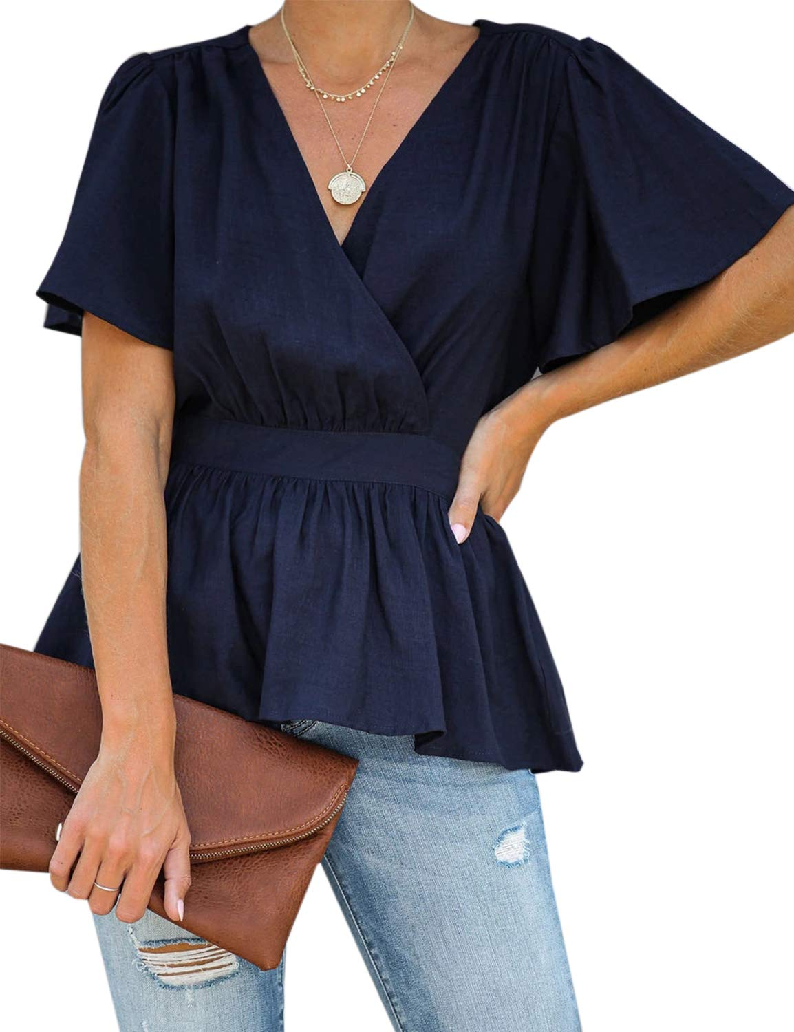 MAY Women's Short Sleeve V Neck Top Wrap Peplum Pleated Blouse Shirt Blue