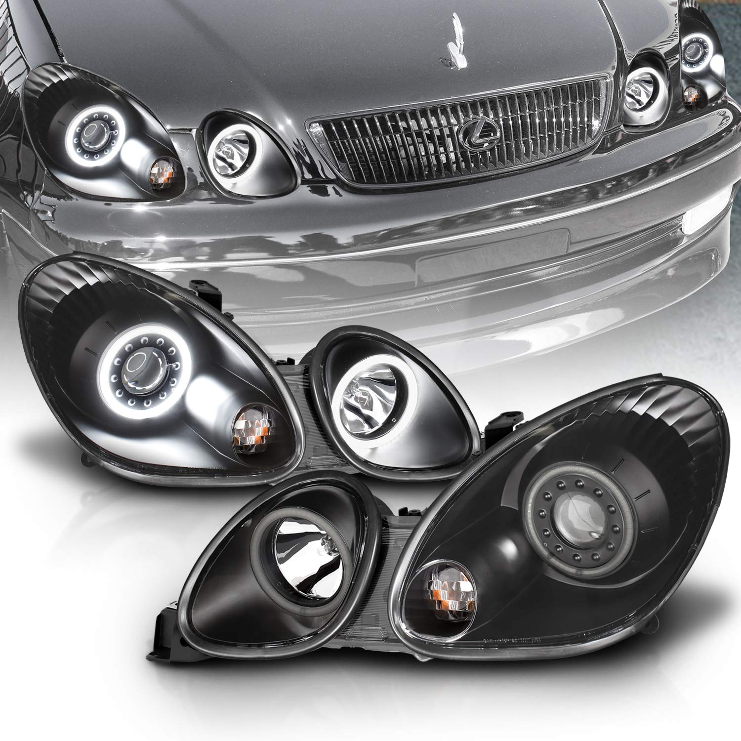 AmeriLite Black Projector Headlights Ultra Bright LED Halo For Lexus GS 300/400 - Passenger and Driver Side