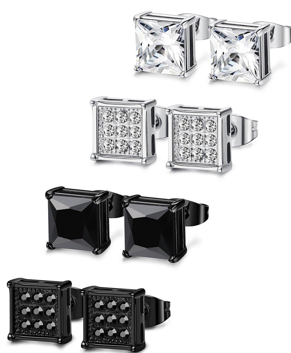 FIBO STEEL 4 Pairs Stainless Steel Stud Earrings for Men Women Ear Piercing CZ Inalid,8MM