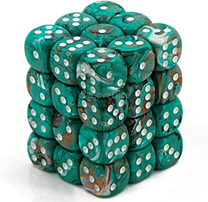 Amazon Com Chessex Marble 12mm D6 Dice Set Oxi Copper With White Toys Games