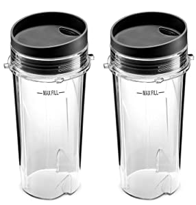 Ninja Blender Cups Single Serve 16-Ounce Cup Set with 2 Sip Lids for BL770 BL780 BL660 Professional Blender (Pack of 2)