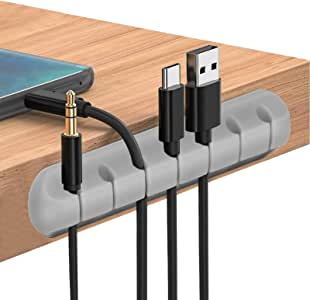 Cable Clips Cord Management Organizer, 3 Packs Adhesive Hooks, Wire Cord Holder Power Cords Charging Accessory Cables, Mouse Cable, PC, Office Home (7 Slots, 5 Slots 3 Slots) … (Gray)